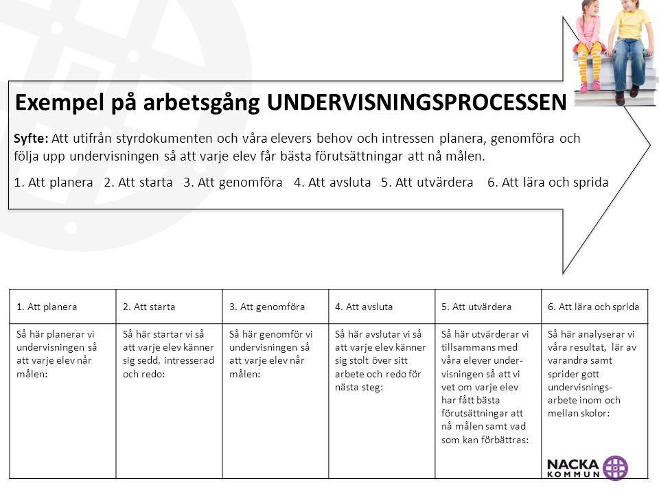 Exempel på arbetsgång UNDERVISNINGSPROCESSEN