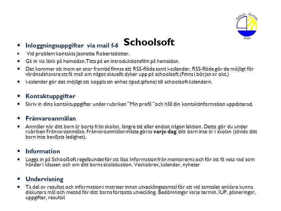 Schoolsoft Inloggningsuppgifter via mail f-6 Kontaktuppgifter