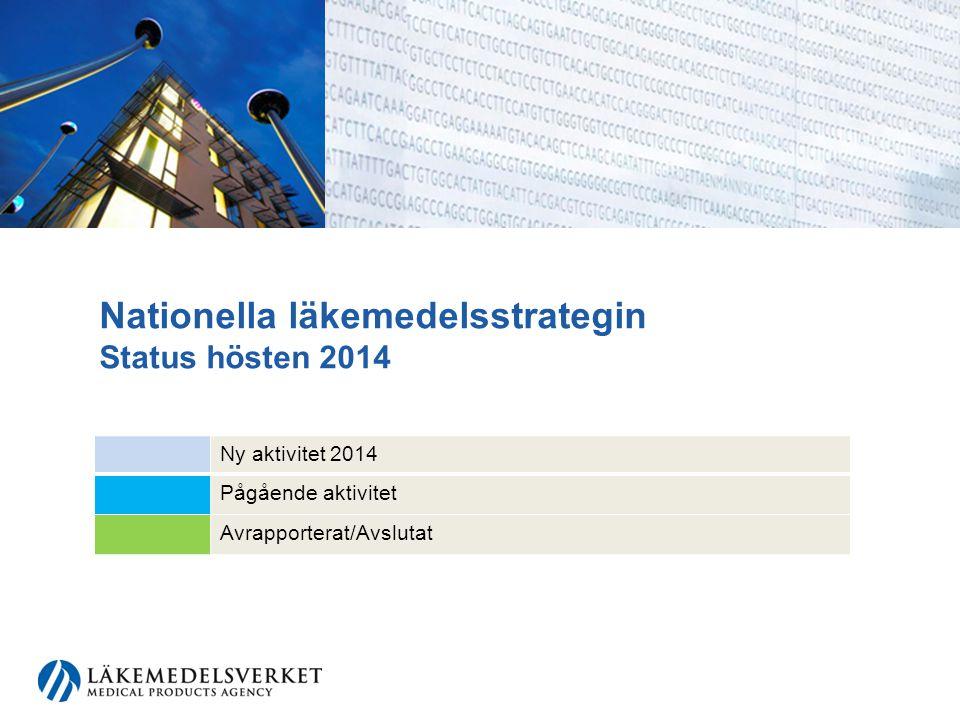 Nationella läkemedelsstrategin Status hösten 2014