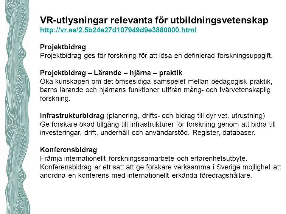 VR-utlysningar relevanta för utbildningsvetenskap