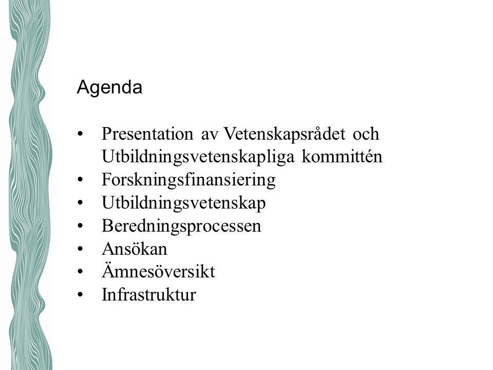 Agenda Presentation av Vetenskapsrådet och Utbildningsvetenskapliga kommittén. Forskningsfinansiering.