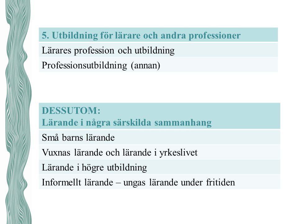 5. Utbildning för lärare och andra professioner