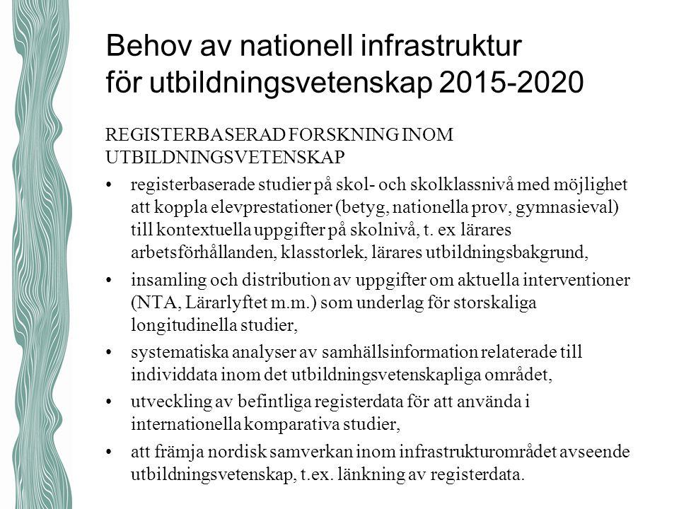 Behov av nationell infrastruktur för utbildningsvetenskap 2015-2020