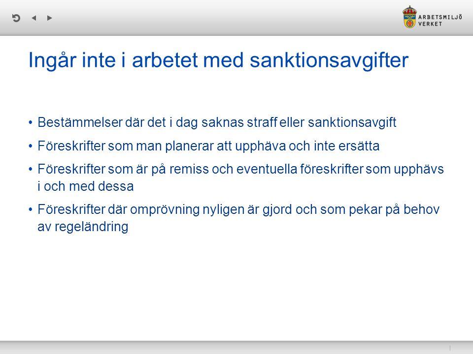 Ingår inte i arbetet med sanktionsavgifter