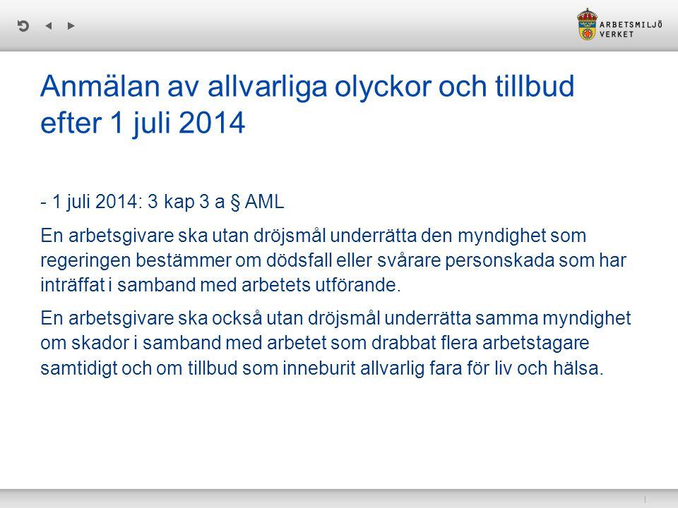 Anmälan av allvarliga olyckor och tillbud efter 1 juli 2014