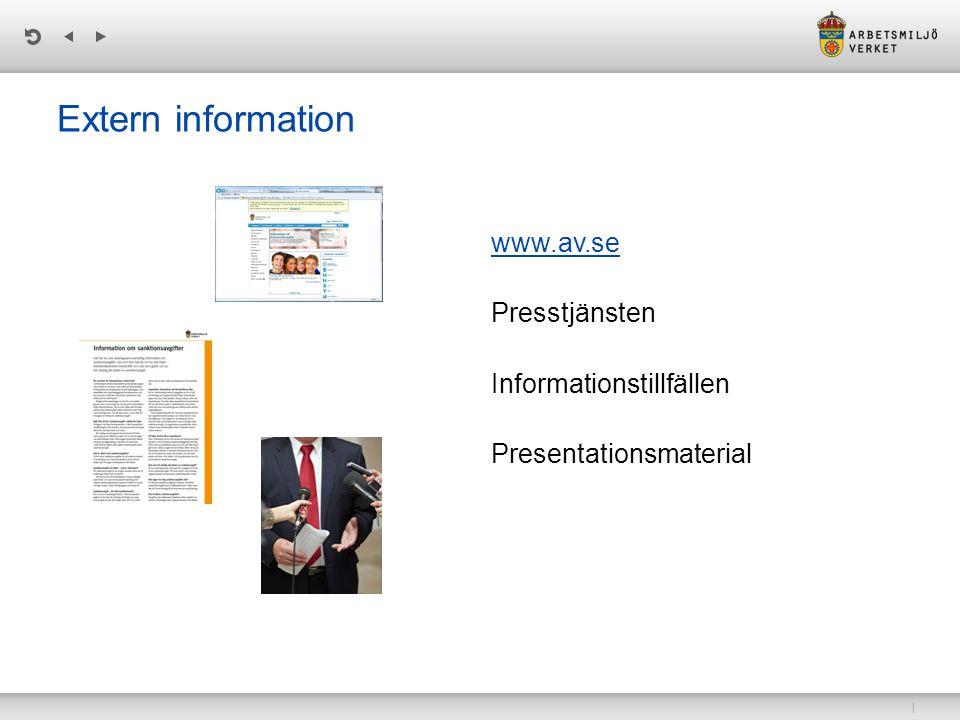 Extern information www.av.se Presstjänsten Informationstillfällen Presentationsmaterial