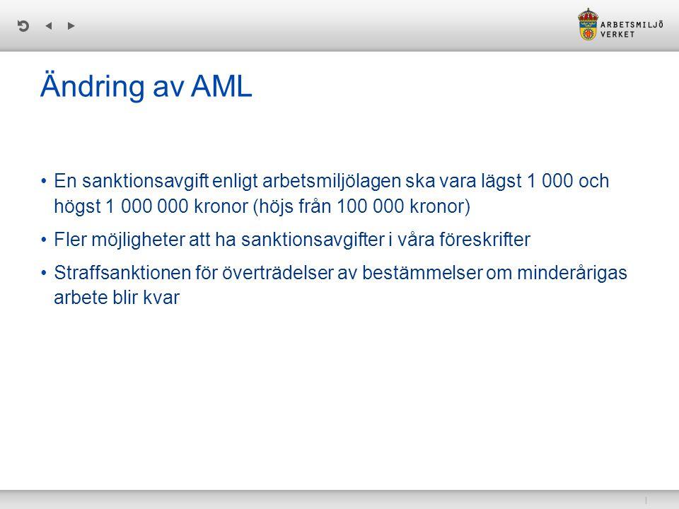 Ändring av AML En sanktionsavgift enligt arbetsmiljölagen ska vara lägst 1 000 och högst 1 000 000 kronor (höjs från 100 000 kronor)