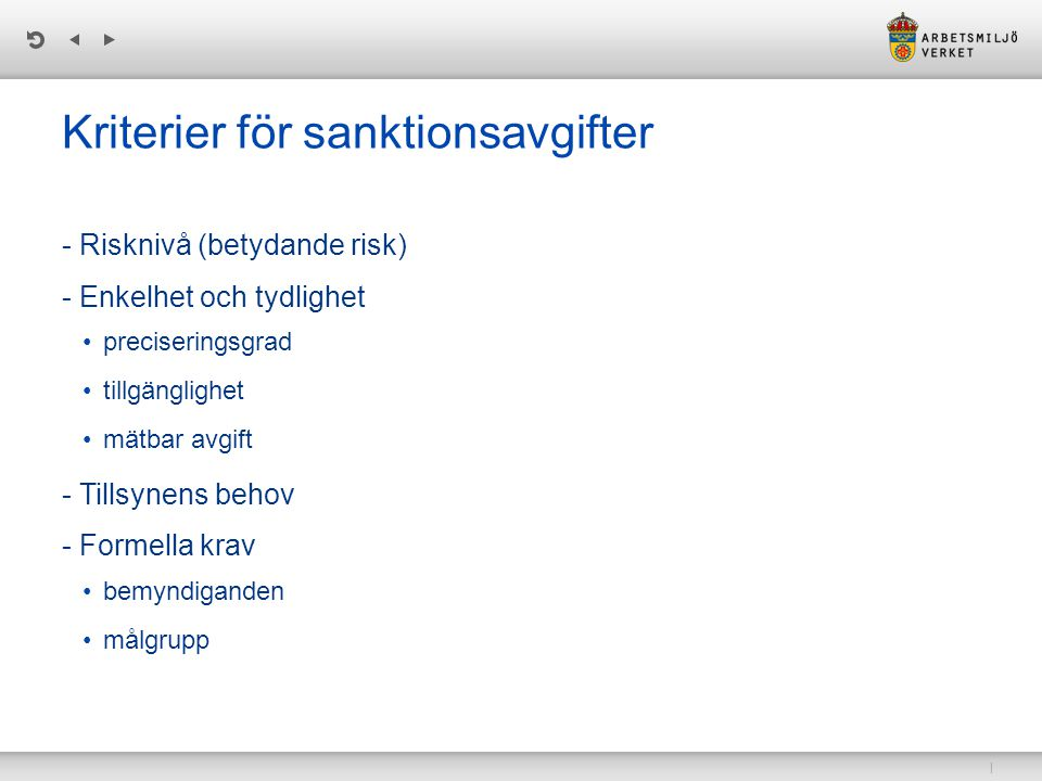 Kriterier för sanktionsavgifter