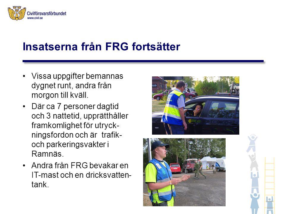 Insatserna från FRG fortsätter