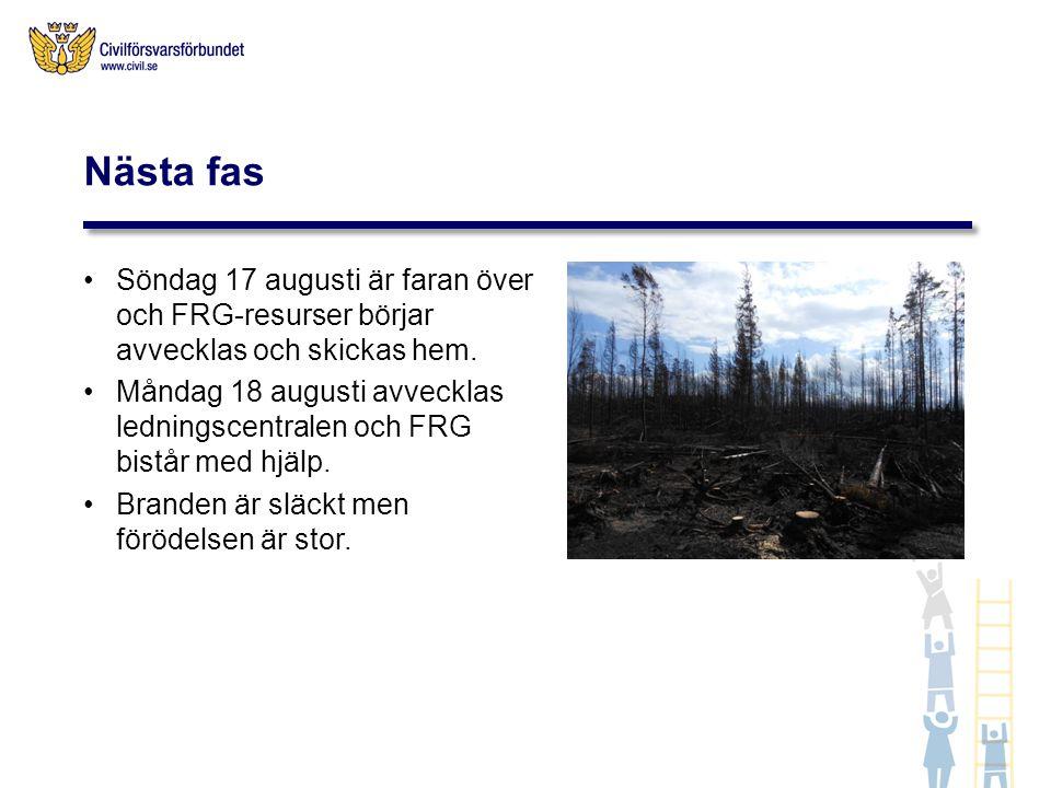 Nästa fas Söndag 17 augusti är faran över och FRG-resurser börjar avvecklas och skickas hem.
