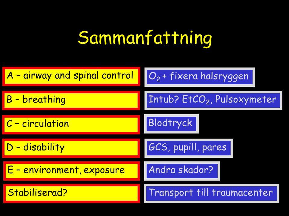 Sammanfattning A – airway and spinal control O2 + fixera halsryggen
