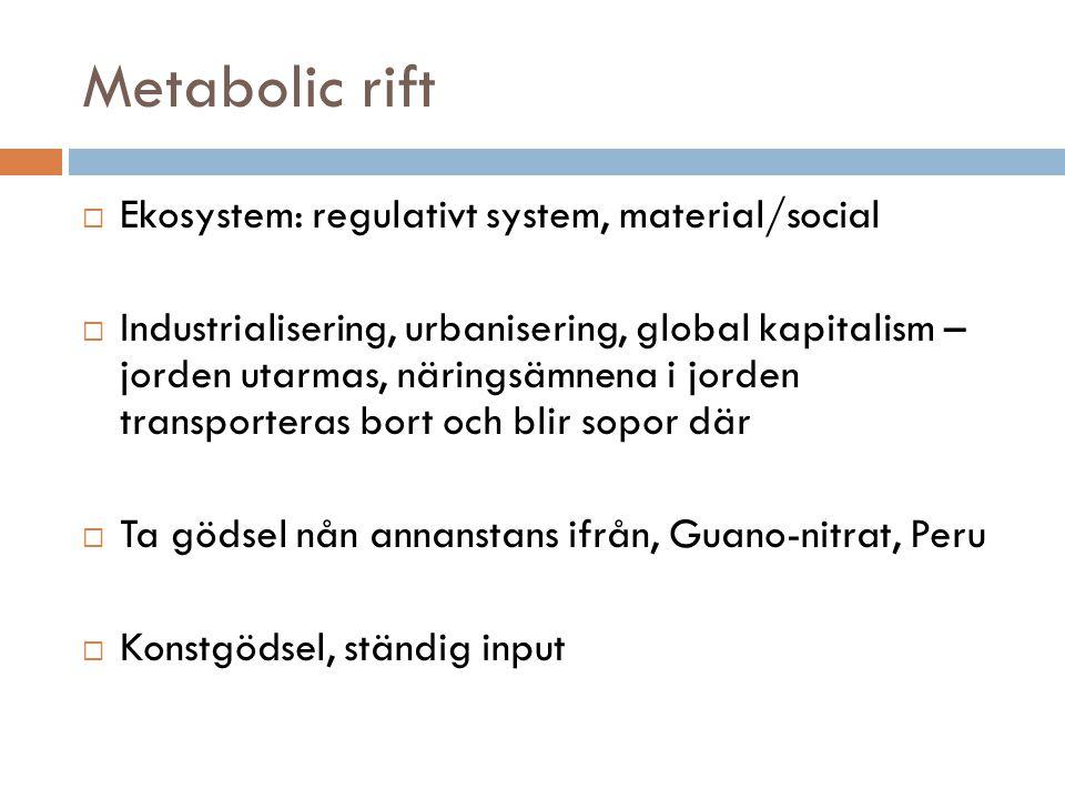 Metabolic rift Ekosystem: regulativt system, material/social