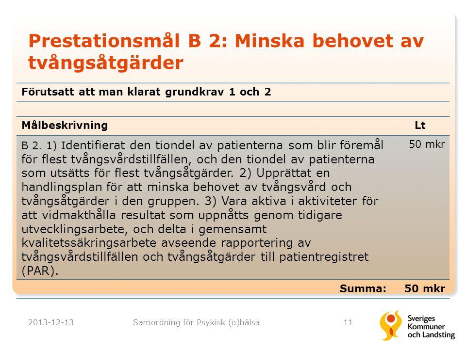 Prestationsmål B 2: Minska behovet av tvångsåtgärder