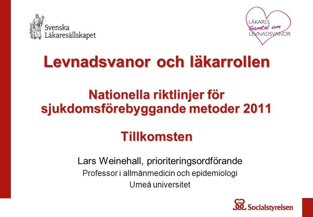 Levnadsvanor och läkarrollen Nationella riktlinjer för sjukdomsförebyggande metoder 2011 Tillkomsten