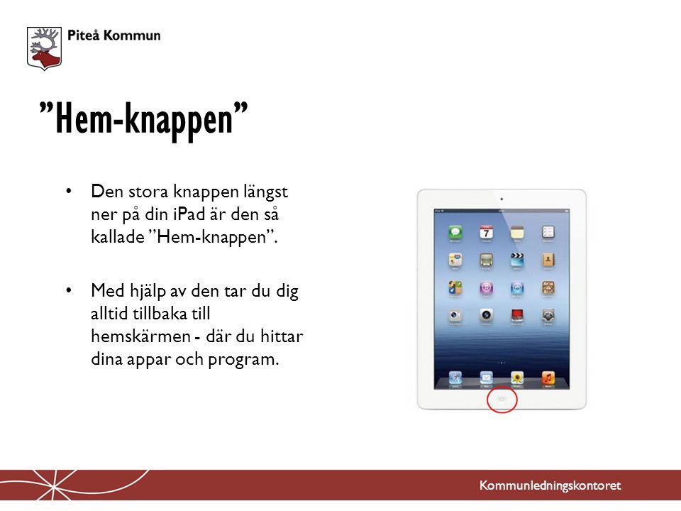 Hem-knappen Den stora knappen längst ner på din iPad är den så kallade Hem-knappen .