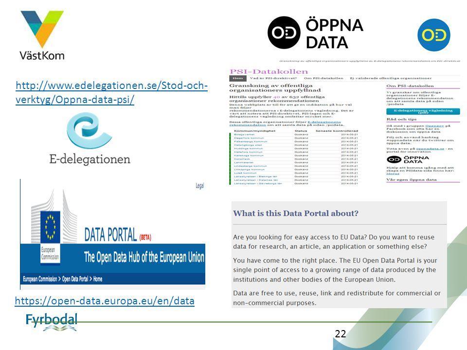 http://www.edelegationen.se/Stod-och-verktyg/Oppna-data-psi/ https://open-data.europa.eu/en/data