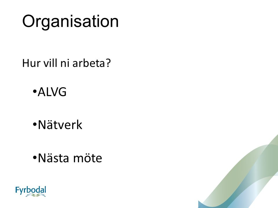 Organisation Hur vill ni arbeta ALVG Nätverk Nästa möte
