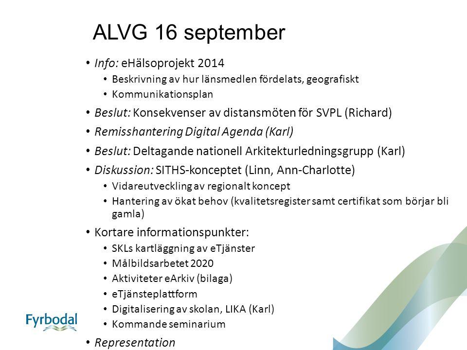 ALVG 16 september Info: eHälsoprojekt 2014