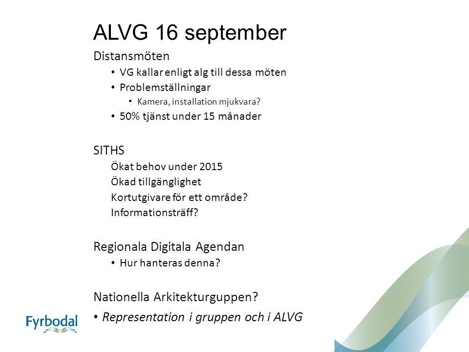 ALVG 16 september Distansmöten SITHS Regionala Digitala Agendan