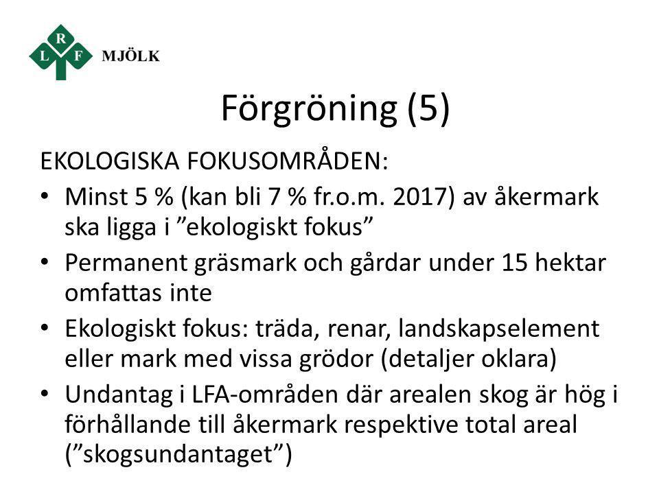 Förgröning (5) EKOLOGISKA FOKUSOMRÅDEN: