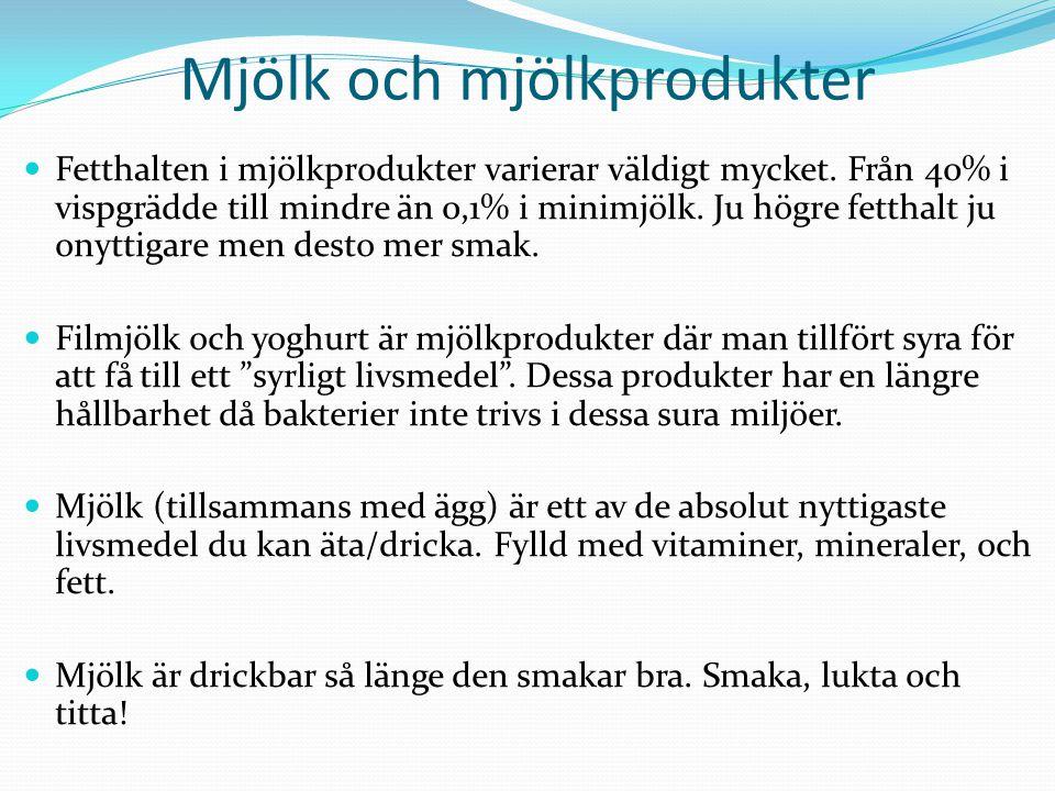 Mjölk och mjölkprodukter