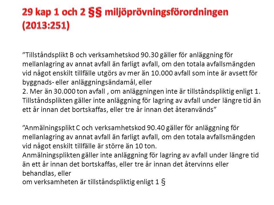 29 kap 1 och 2 §§ miljöprövningsförordningen (2013:251)