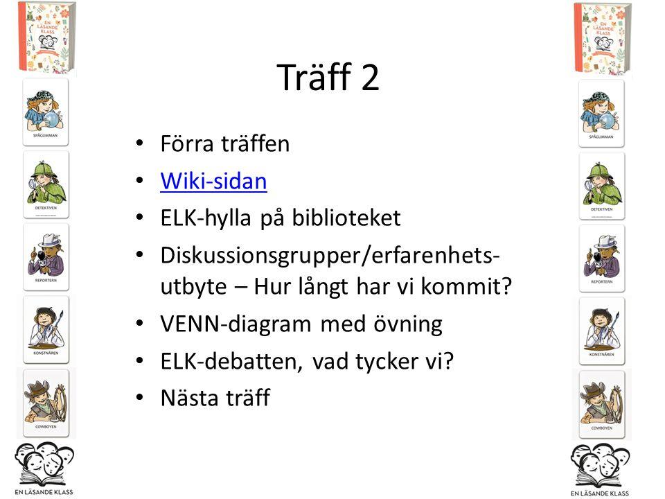 Träff 2 Förra träffen Wiki-sidan ELK-hylla på biblioteket