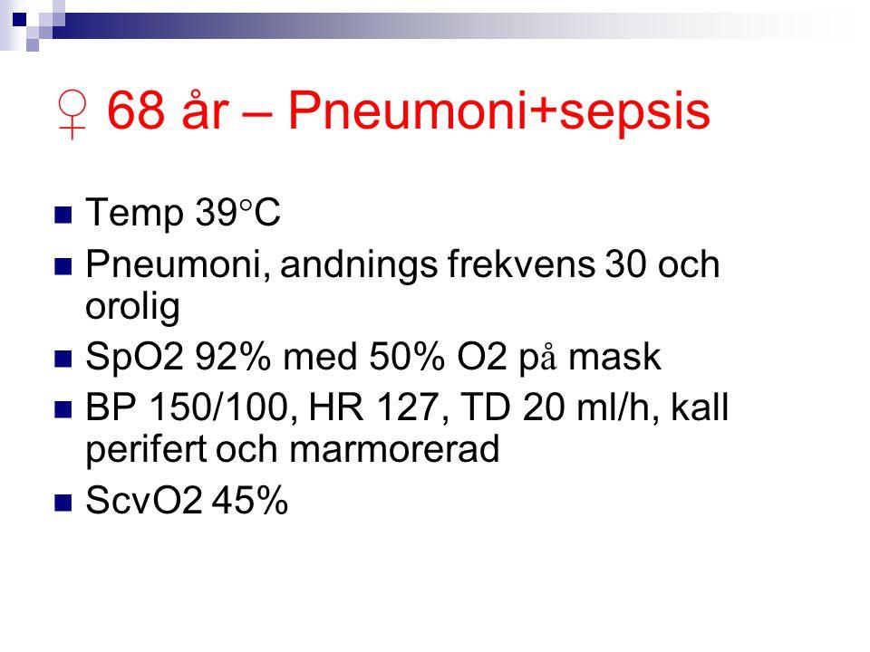 ♀ 68 år – Pneumoni+sepsis Temp 39°C