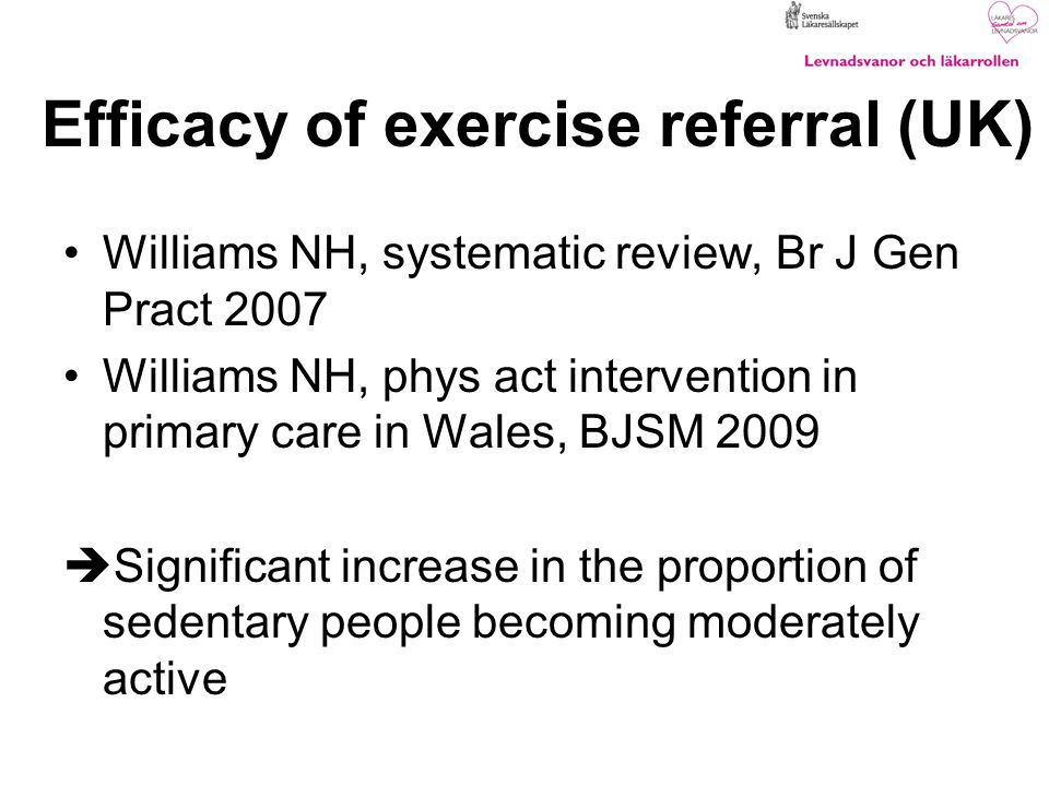 Efficacy of exercise referral (UK)