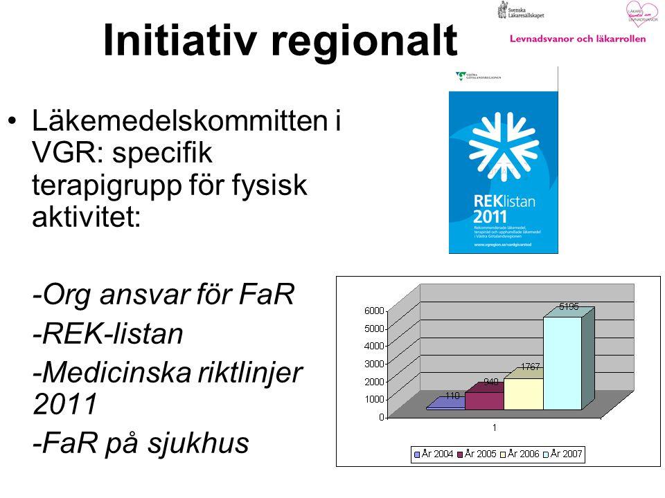 Initiativ regionalt Läkemedelskommitten i VGR: specifik terapigrupp för fysisk aktivitet: -Org ansvar för FaR.