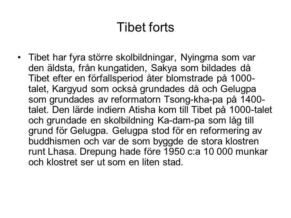 Tibet forts