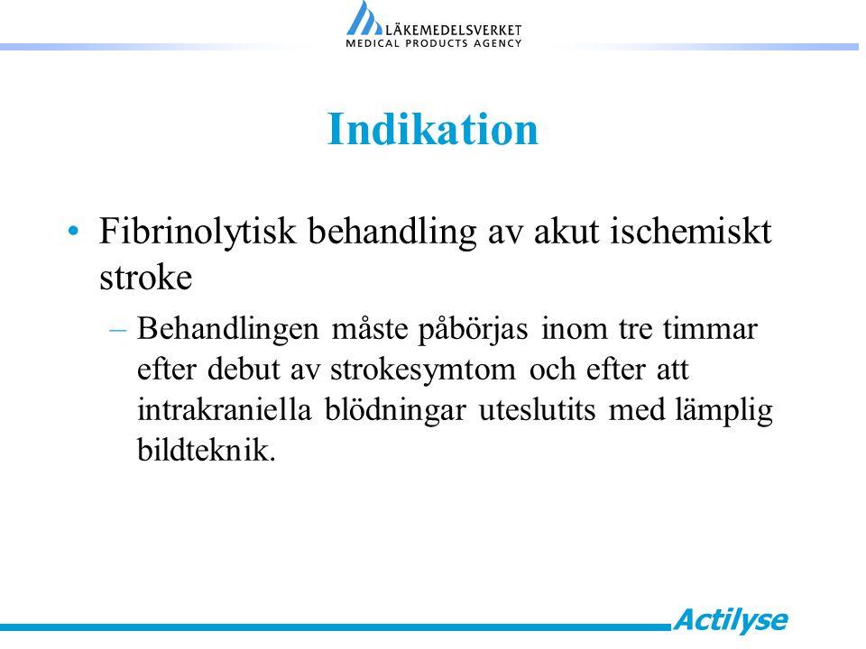 Indikation Fibrinolytisk behandling av akut ischemiskt stroke
