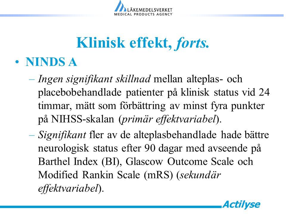 Klinisk effekt, forts. NINDS A