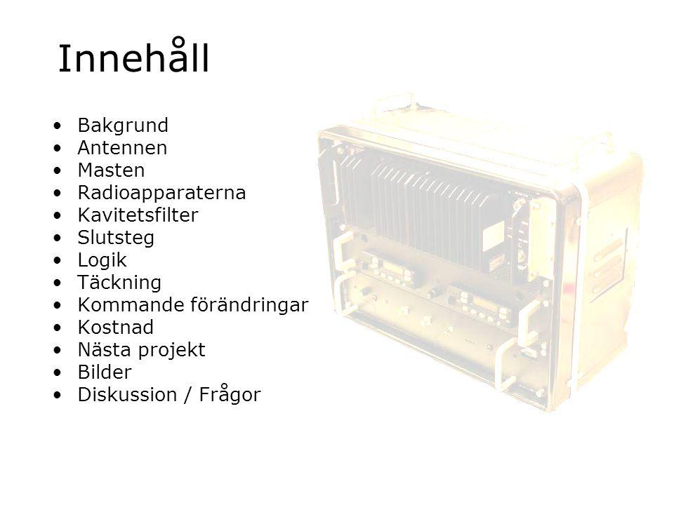 Innehåll Bakgrund Antennen Masten Radioapparaterna Kavitetsfilter