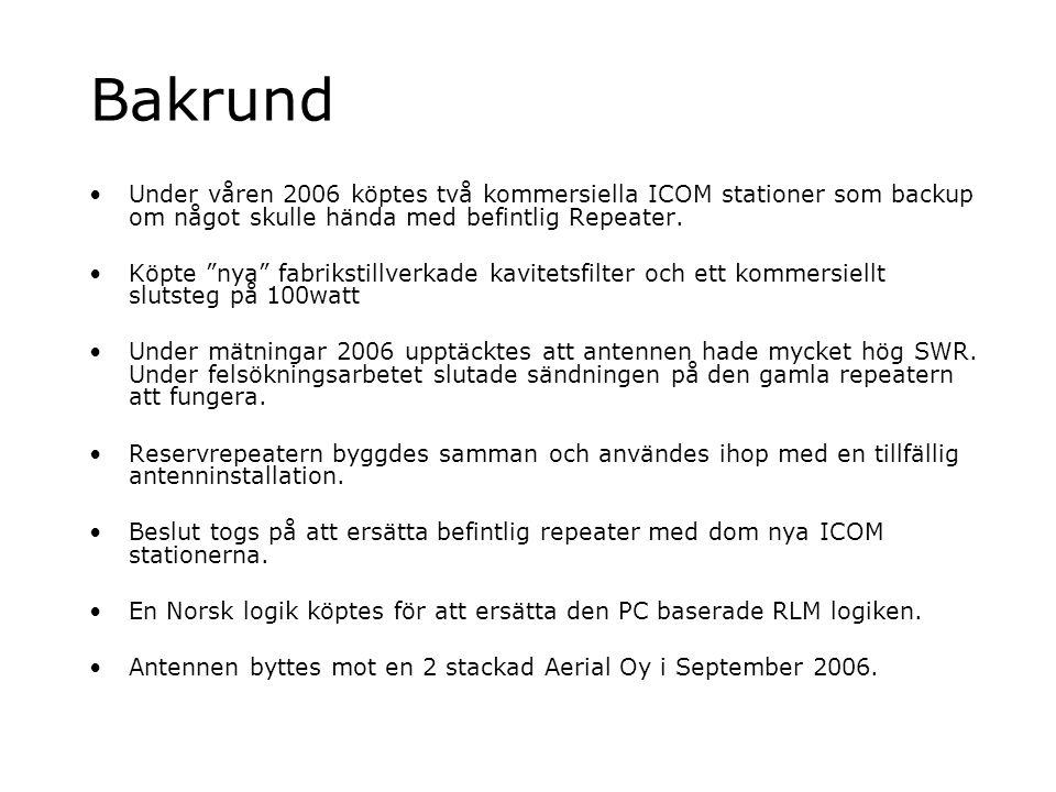 Bakrund Under våren 2006 köptes två kommersiella ICOM stationer som backup om något skulle hända med befintlig Repeater.