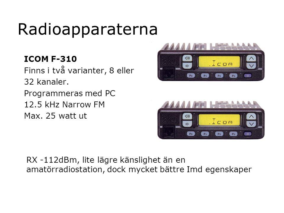 Radioapparaterna ICOM F-310 Finns i två varianter, 8 eller 32 kanaler.