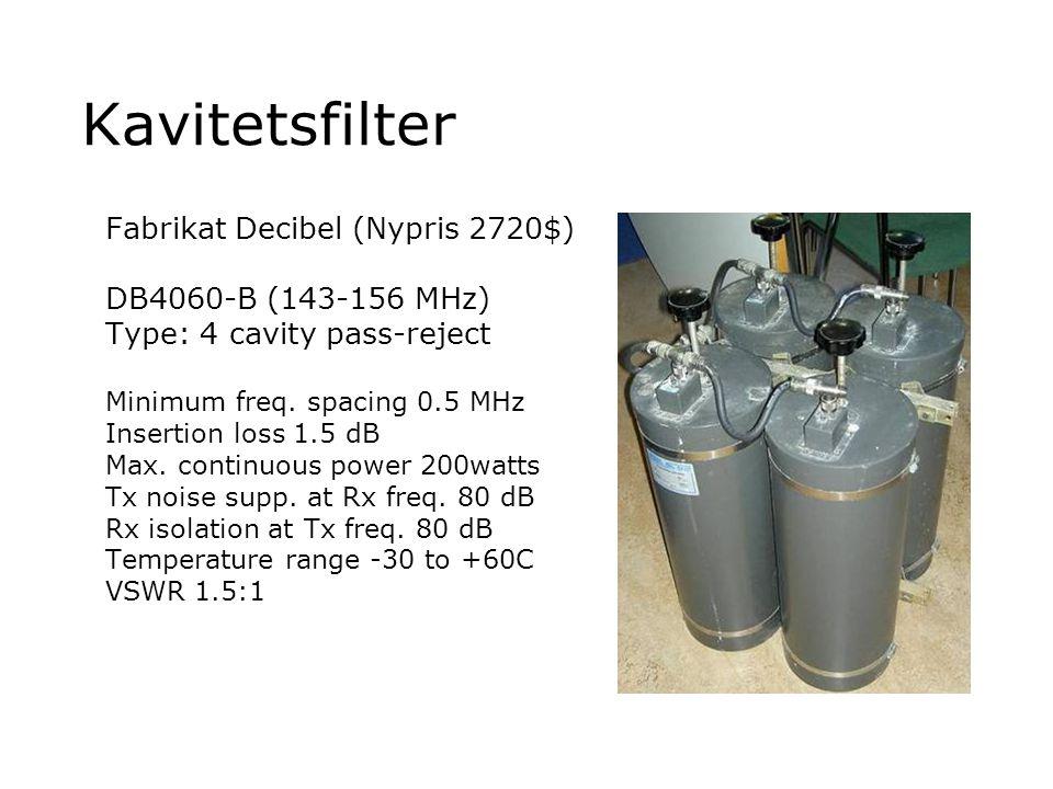 Kavitetsfilter Fabrikat Decibel (Nypris 2720$) DB4060-B (143-156 MHz)