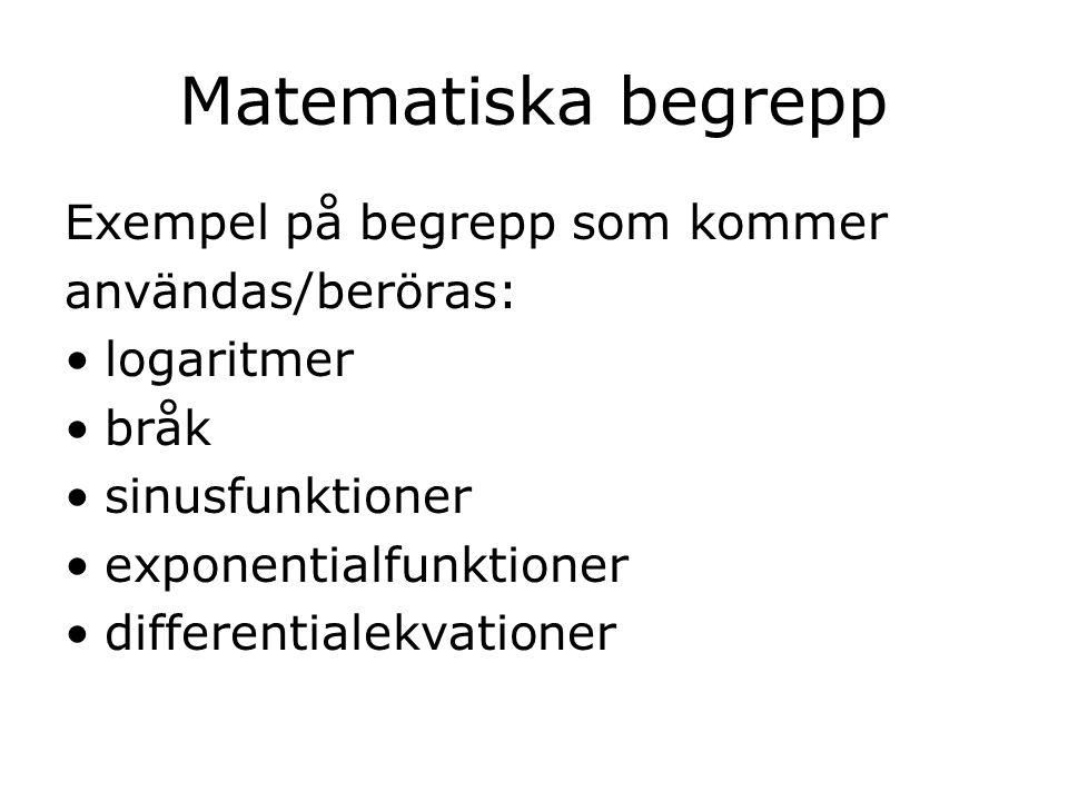Matematiska begrepp Exempel på begrepp som kommer användas/beröras:
