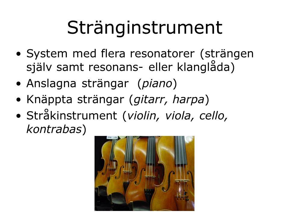 Stränginstrument System med flera resonatorer (strängen själv samt resonans- eller klanglåda) Anslagna strängar (piano)