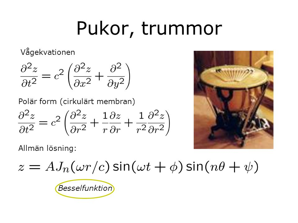 Pukor, trummor Vågekvationen Polär form (cirkulärt membran)