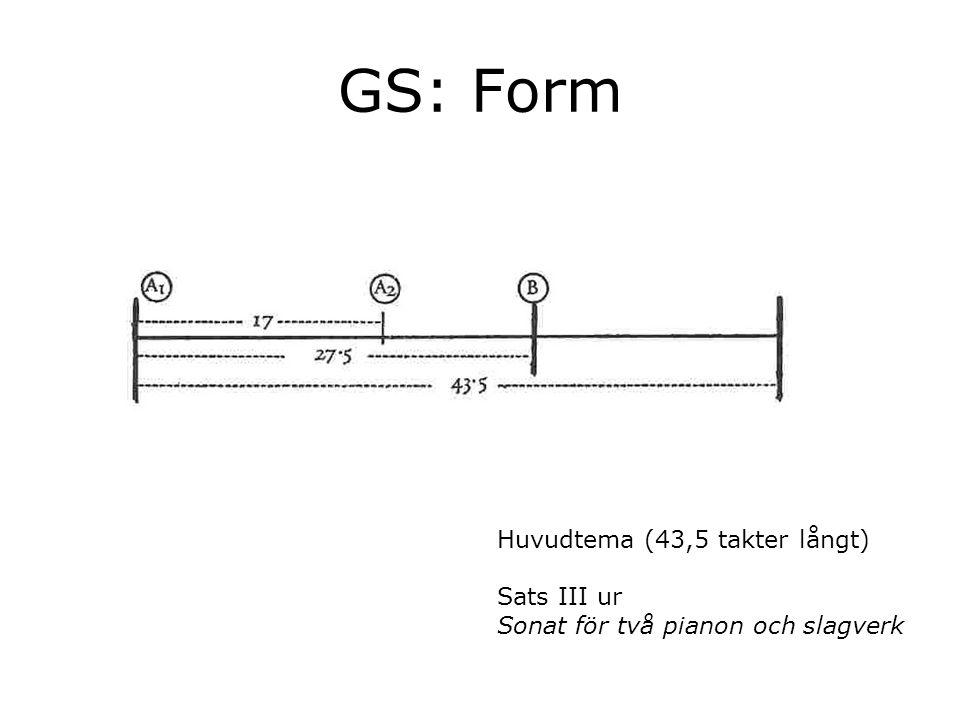 GS: Form Huvudtema (43,5 takter långt) Sats III ur