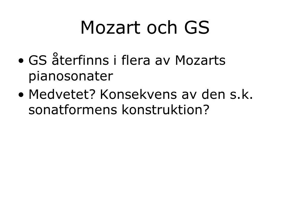 Mozart och GS GS återfinns i flera av Mozarts pianosonater