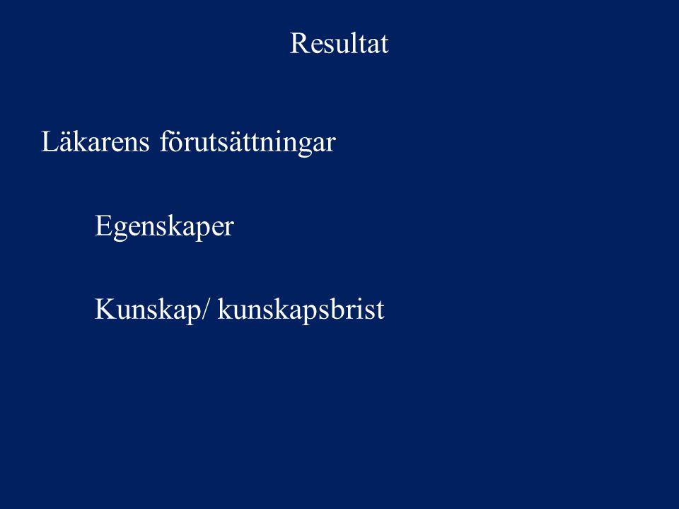 Resultat Läkarens förutsättningar Egenskaper Kunskap/ kunskapsbrist
