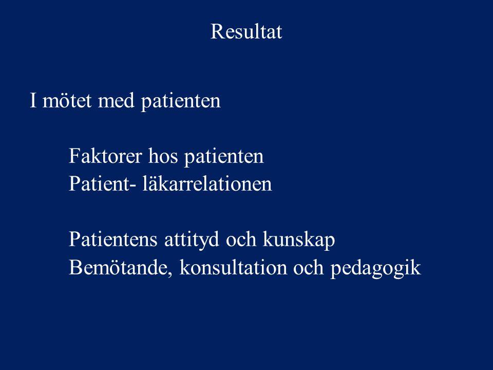 Resultat I mötet med patienten. Faktorer hos patienten. Patient- läkarrelationen. Patientens attityd och kunskap.