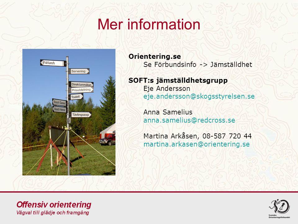 Mer information Orientering.se Se Förbundsinfo -> Jämställdhet