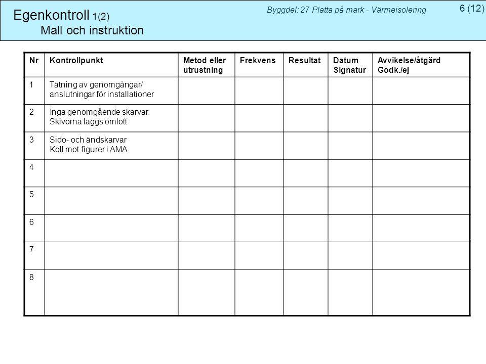 Egenkontroll 1(2) Mall och instruktion