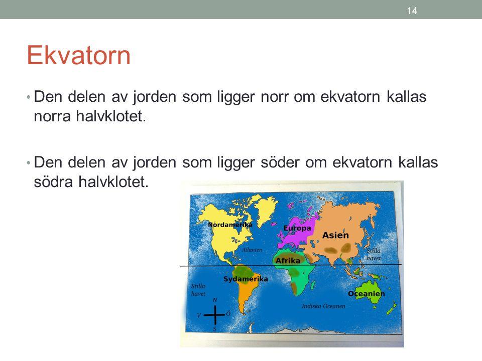 14 Ekvatorn. Den delen av jorden som ligger norr om ekvatorn kallas norra halvklotet.
