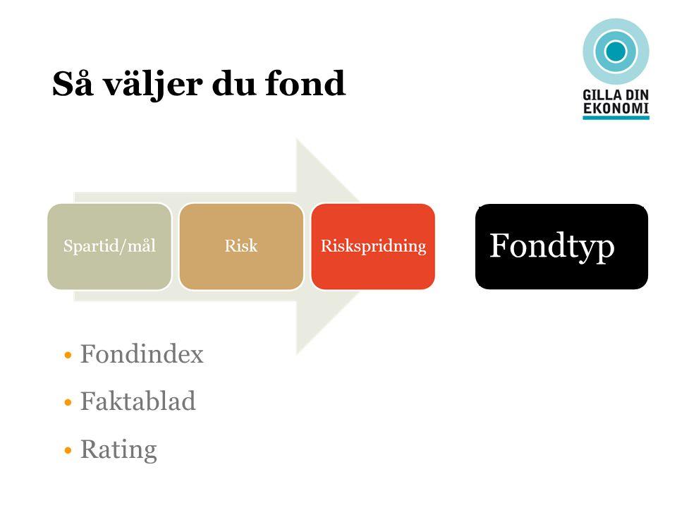 Så väljer du fond Fondtyp Fondindex Faktablad Rating 11