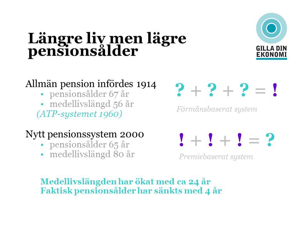 + + = ! ! + ! + ! = Längre liv men lägre pensionsålder
