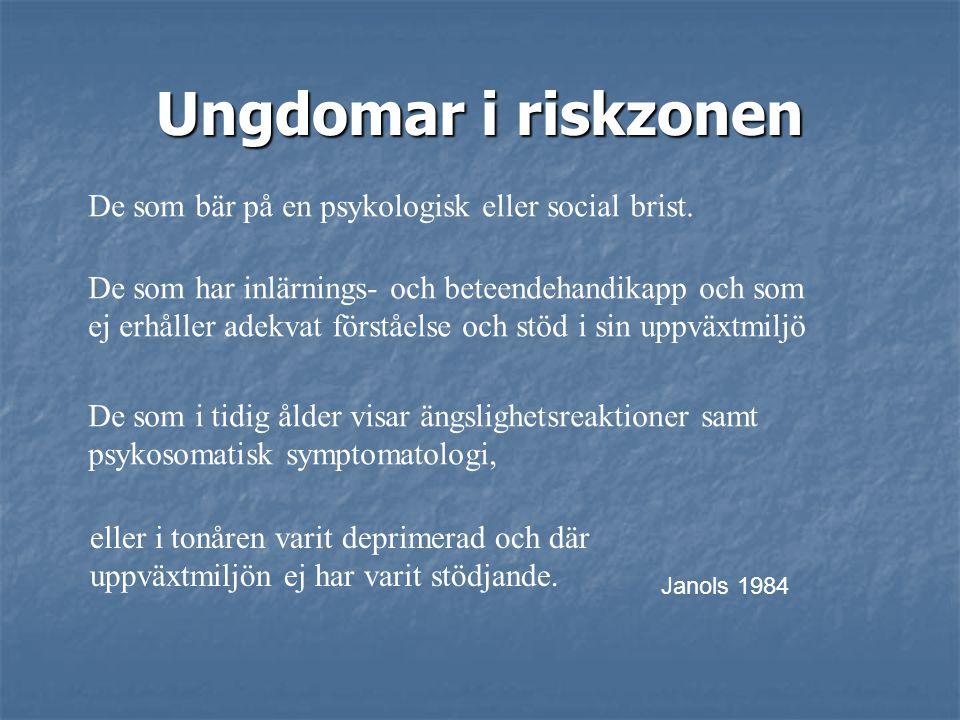 Ungdomar i riskzonen De som bär på en psykologisk eller social brist.